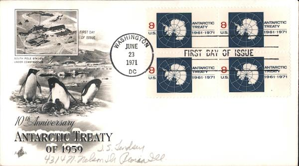10th Anniversary Antarctic Treaty of 1959 Block of Stamps