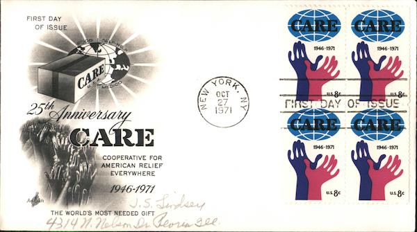 25th Anniversary CARE Block of Stamps First Day Covers