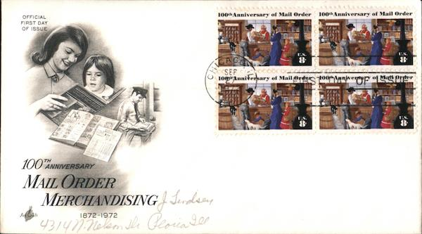 100th Anniversary Mail Order Merchandising Block of Stamps