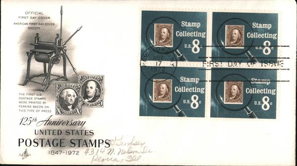 125th Anniversary United States Postage Stamps 1847-1972 Block of Stamps
