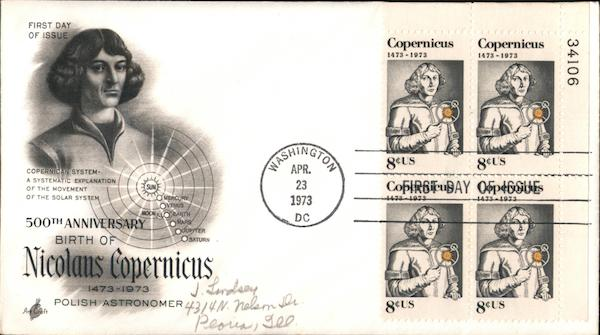 500th Anniversary Birth of Nicolaus Copernicus 1473-1973 Plate Block of Stamps