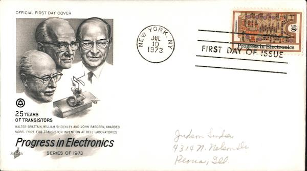 25 Years of Transistors--Progress in Electronics First Day Covers