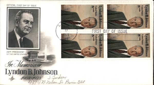 In Memoriam Lyndon B. Johnson 1908-1973 Block of Stamps