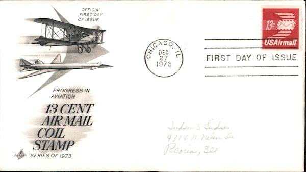 Progress in Aviation 13 Cent Air Mail Coil Stamp, Series of 1973