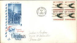 Season's Greetings Christmas 1965 Block of Stamps First Day Cover