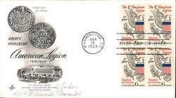 Golden Anniversary of American Legion 1919-1969 Block of Stamps First Day Cover