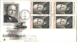 In Memoriam, Harry S. Truman Block of Stamps First Day Cover