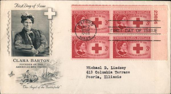 Clara Barton - Founder of the American Red Cross Plate Block of Stamps