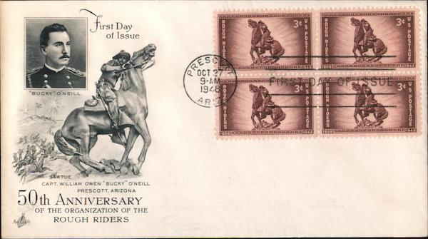 50th Anniversary of the Organization of the Rough Riders Block of Stamps