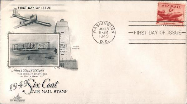 1949 Six Cent Air Mail Stamp First Day Covers