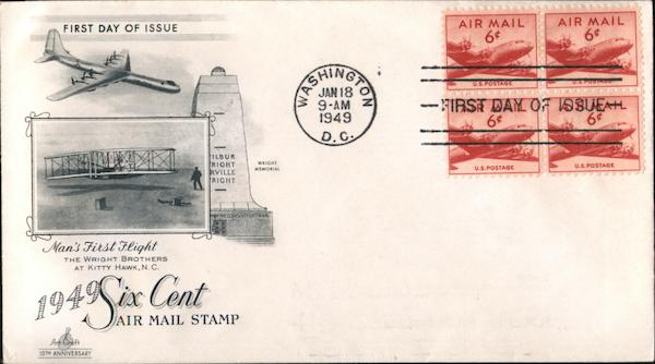 1949 Six Cent Air Mail Stamp Block of Stamps First Day Covers
