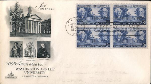 200th Anniversary of Washington and Lee University Block of Stamps