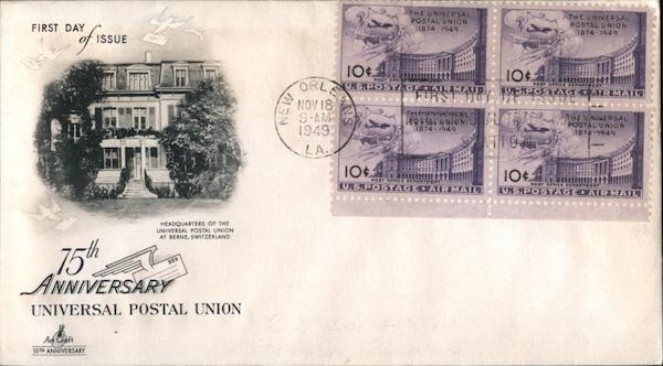 75th Anniversary Universal Postal Union Block of Stamps