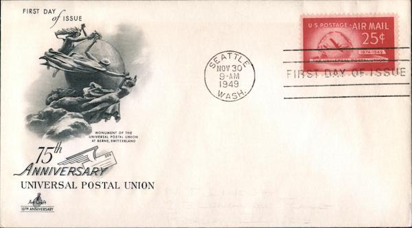 75th Anniversary, Universal Postal Union First Day Covers