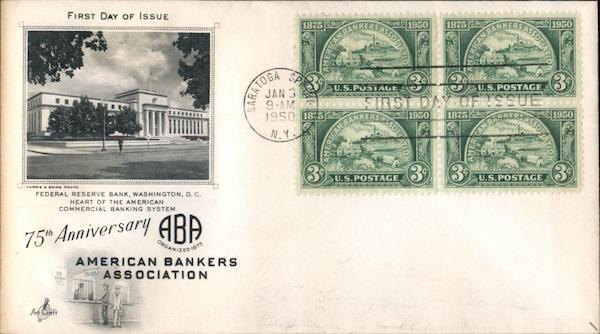 75th Anniversary American Bankers Association Block of Stamps