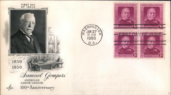 100th Anniversary Samuel Gompers - American Labor Leader Block of Stamps