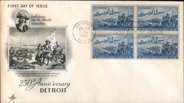 250th Anniversary Detroit Block of Stamps First Day Covers