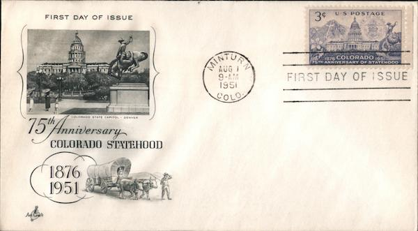 75th Anniversary Colorado Statehood, 1876-1951 First Day Covers