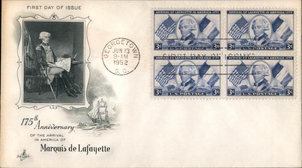 175th Anniversary Marquis de Lafayette Block of Stamps