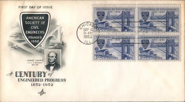 A Century of Engineered Progress 1852-1952 Block of Stamps