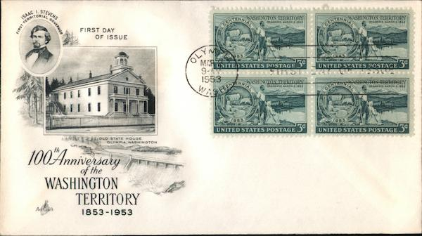 100th Anniversary of the Washington Territory, 1853-1953 Block of Stamps