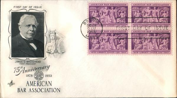 75th Anniversary American Bar Association 1878-1953 Block of Stamps