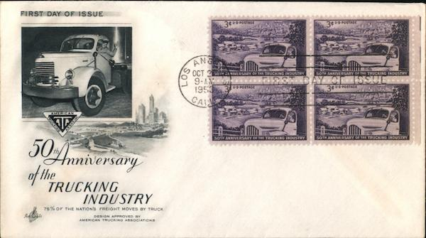 50th Anniversary of the Trucking Industry Block of Stamps