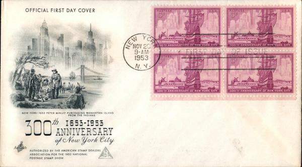 300th Anniversary of New York City 1653-1953 Block of Stamps
