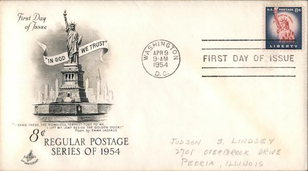 8¢ Regular Postage Series of 1954 First Day Covers