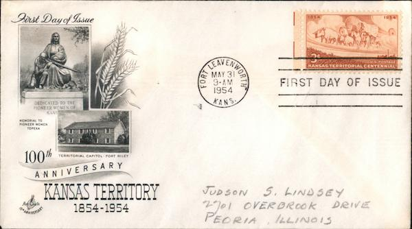 100th Anniversary Kansas Territory 1854-1954 First Day Covers