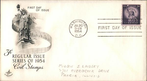 3c Regular Issue Coil Stamps Series of 1954 First Day Covers