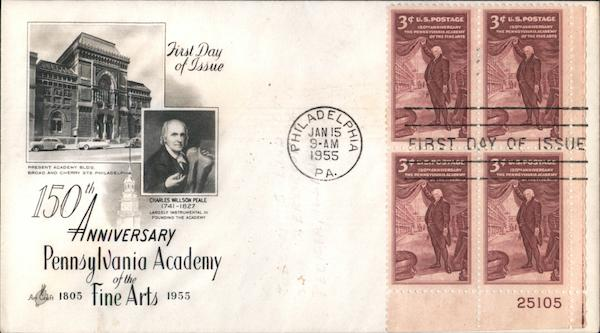 150th Anniversary Pennsylvania Academy of Fine Arts, 1805-1955 Plate Block of Stamps