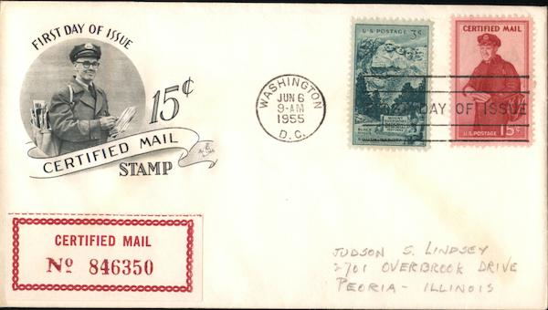 15¢ Certified Mail Stamp First Day Covers