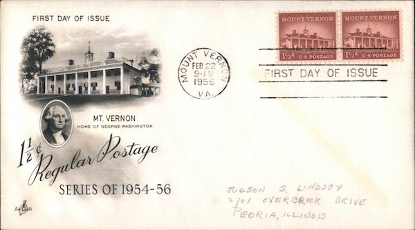 1 1/2c Regular Postage Series of 1954-56 Mount Vernon