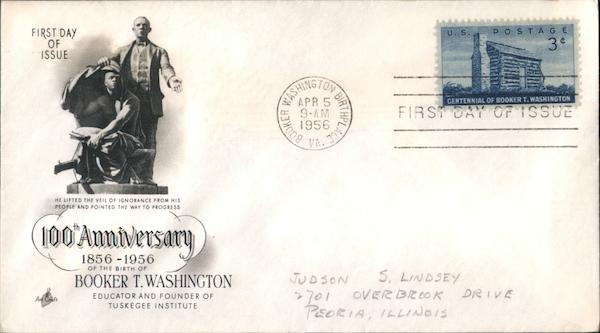 100th Anniversary Booker T. Washington 1856-1956 First Day Covers