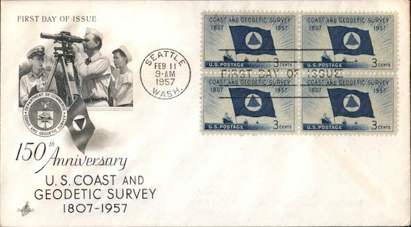 150th Anniversary U.S. Coast and Geodetic Survey 1807-1957 Block of Stamps