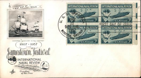 1607-1957 Jamestown Festival - International Naval Review Block of Stamps