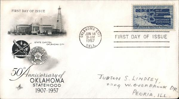 50th Anniversary of Oklahoma Statehood 1907-1957 First Day Covers