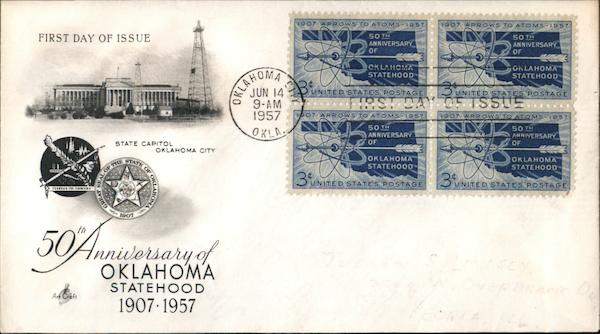 50th Anniversary of Oklahoma Statehood 1907-1957 Block of Stamps