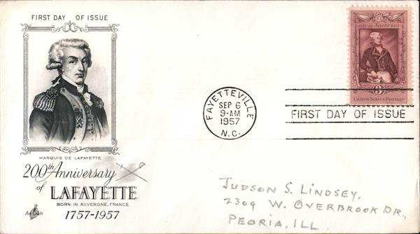 200th Anniversary Lafayette First Day Covers