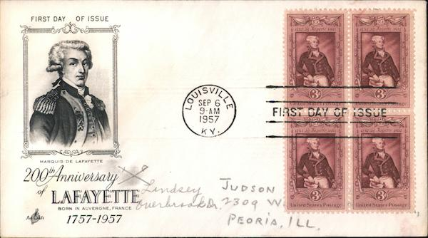 200th Anniversary of Lafayette Block of Stamps First Day Covers