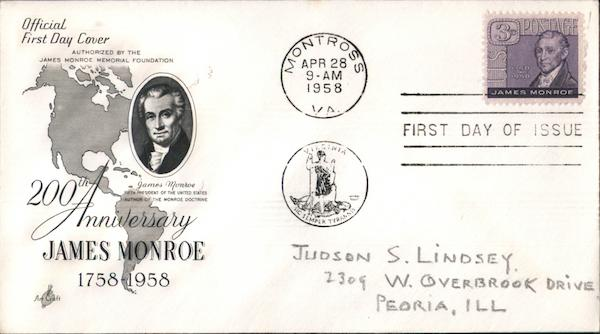 200th Anniversary, James Monroe, 1758-1958 First Day Covers