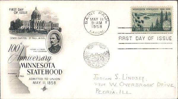 100th Anniversary of Minnesota Statehood First Day Covers