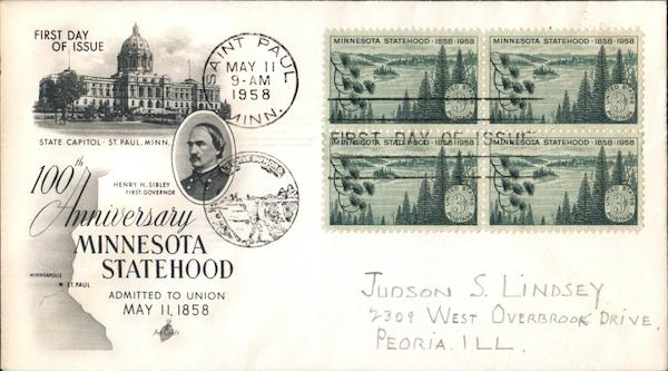 100th Anniversary Minnesota Statehood Block of Stamps