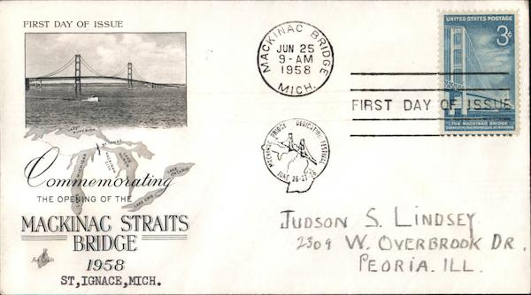 Commemorating the opening of the Mackinac Straits Bridge