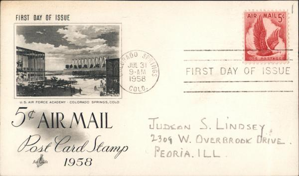 5¢d Air Mail Post Card Stamp 1958 First Day Covers