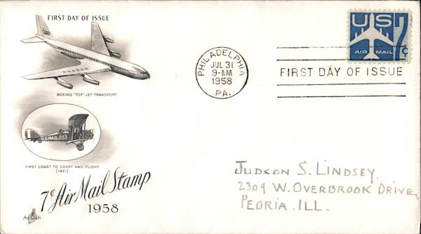 Air Mail Stamp, 1958 First Day Covers