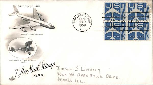 7¢ Air Mail Stamp 1958 Block of Stamps First Day Covers