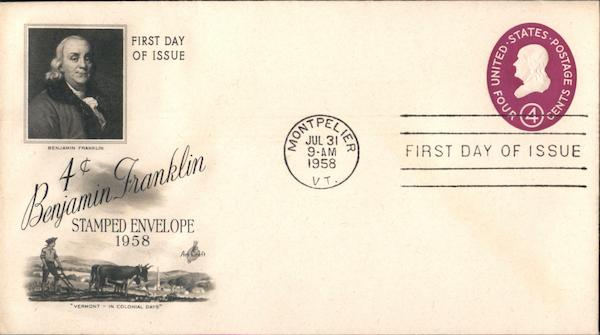 4c Benjamin Franklin Stamped Envelope 1958 First Day Covers