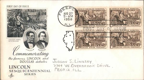 Commemorating the Famous Lincoln and Douglas Debates - Lincoln Sesquicentennial Series Block of Stamps